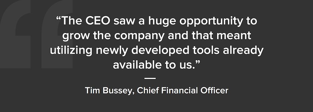 Screenshot of a quote from the article, calling out CEO seeing an opportunity to grow the business