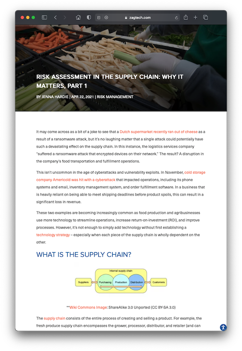 Screenshot of blog post about supply chain it risk assessment