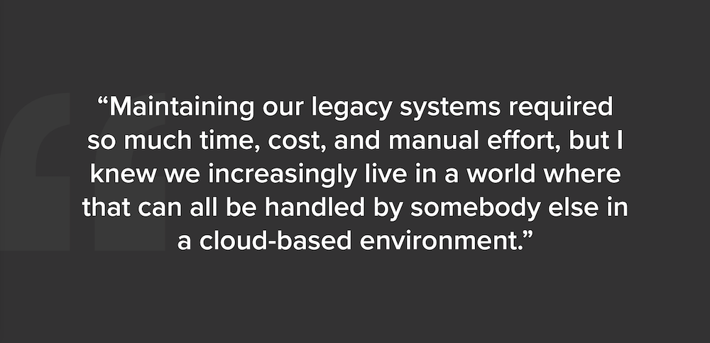 Screenshot of a quote from the article, company COO discussing move to the cloud.